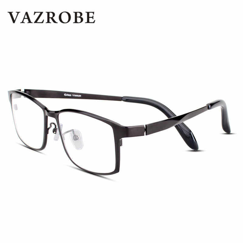 9bd6fd934a Vazrobe 150mm Titanium Glasses Men Full Rim Eyeglasses Frames for Man  Oversized Wide Face Prescription Spectacles