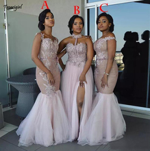 African  Long Mixed Style Appliques Off Shoulder Mermaid Prom Dress Split Side Maid Of Honor Dresses Evening