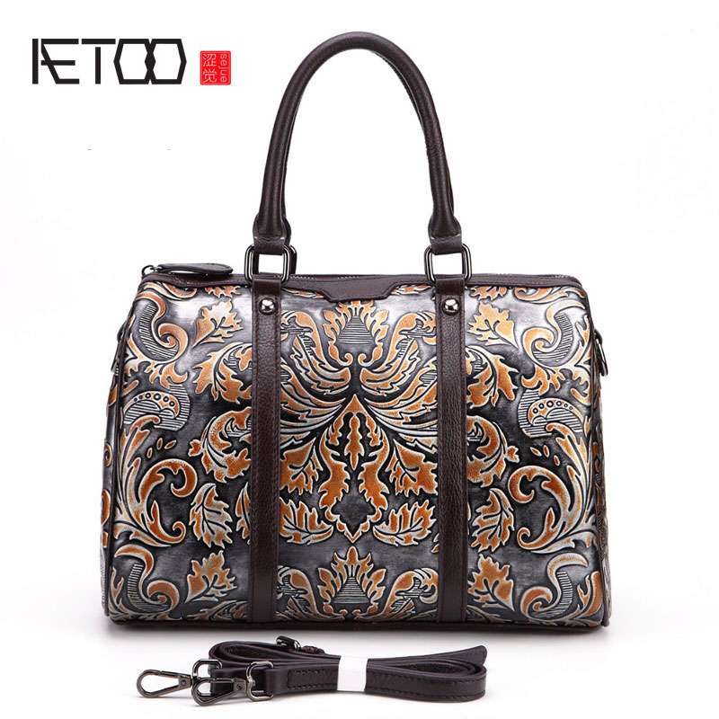 AETOO 2017 Genuine Leather Women Handbags Fashion Design Elegant Shoulder Bags Floral Print Female Casual Tote