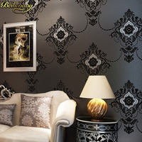 beibehang 3D embosse wallpaper Continental Damascus Black White wall paper Wallcovering Damascus Bedroom 3d Papel De Parede Roll