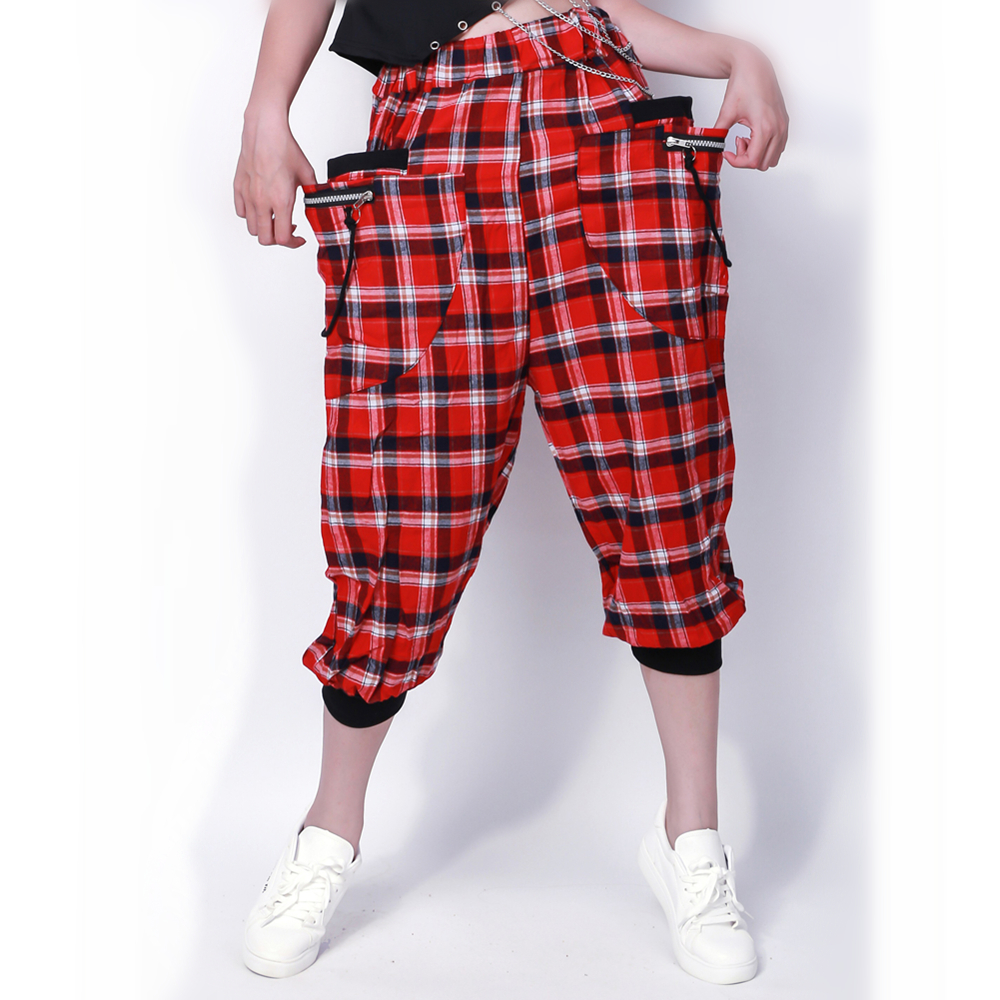 Women Girl Dance Wear Patchwork Ds Costume Capris Sweatpants Spring Summer Kids Adult Female Thin Red Plaid Harem Hip Hop Pants
