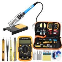 LCD Digital Temperature Adjust Soldering Iron Tool Set with Multimeter Set Soldering Station and Solder Iron Tips Tester Meter