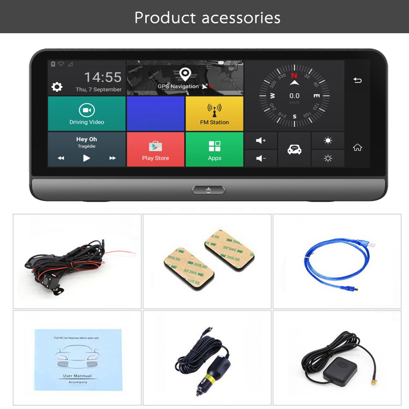 7 84 quot 1080P Android5 0 5 1 3G 4G GPS Navigation Wi Fi Bluetooth Music Video DVR Camera 1GB RAM 16GB ROM in DVR Dash Camera from Automobiles amp Motorcycles