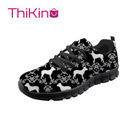 Thikin Women Pitbull Terrier Sneakers Animals Casual Flat Shoes Ladies Breathable Mesh Woman Walking Shoes Zapatos Mujer