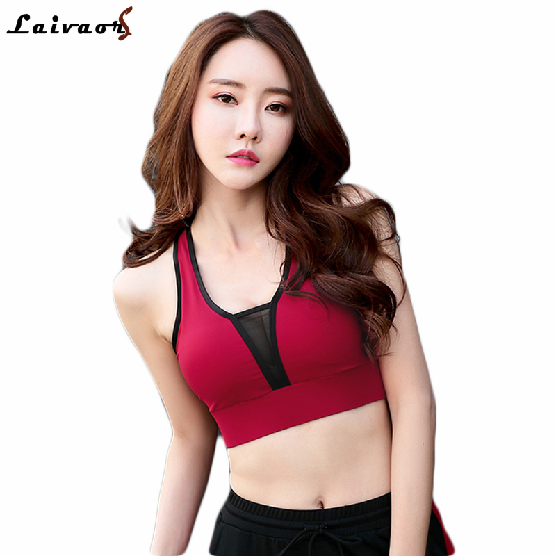 2018 Women Mesh Patchwork Sports Bras, M-4XL Plus Size Breathable Push Up Fitness Underwear Yoga Seamless Padded Gym Short Tops