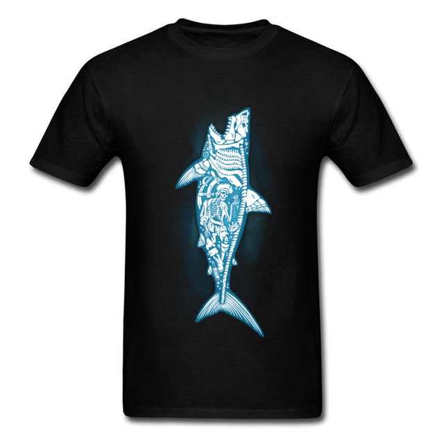 Sunken Treasure Men T-shirt Skeleton Shark T Shirt Pirate Skull Tshirt Sea  Adventure Clothing Awesome Design Tops Tees a1d322edeedf