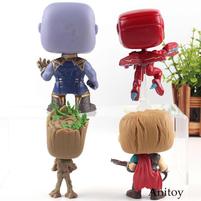 Infinito Guerra Marvel Avengers Super Heroes Iron Man Thor Homem Árvore Thanos Figura Bobble Head PVC Coleção Toy com Varejo caixa