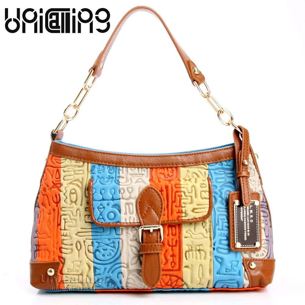 UniCalling fashion women shoulder bag leather colorful striped pattern female tote shoulder bag handbag hieroglyphic embossing fashion colorful striped pattern square shape pillowcase without pillow inner