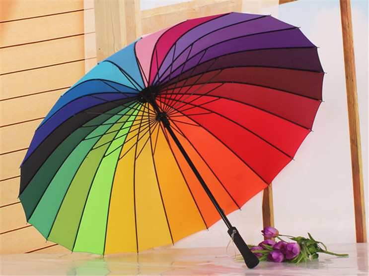 Fashion New Long-handle Rainbow Umbrella 24 Ribs Rain & Sun Golf Umbrella Windproof Large Size 105cm in Diameter for 1-2 Person