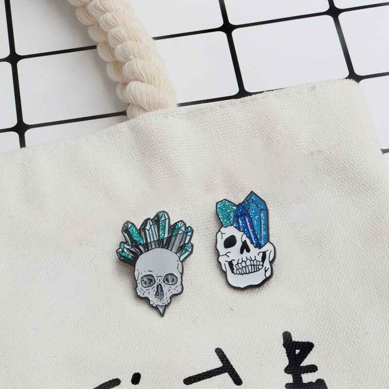 Qihe Perhiasan Bunga Tengkorak Enamel Collection Skeleton Kepala Mawar Kerah Pin Cinta dan Kematian Lencana Romantis Bros