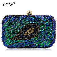 Creative Peacock Sequined Evening Party Bag Purse Charm Women Chain Shoulder Bag for Girl Lady Clutch Bridesmaid Wedding