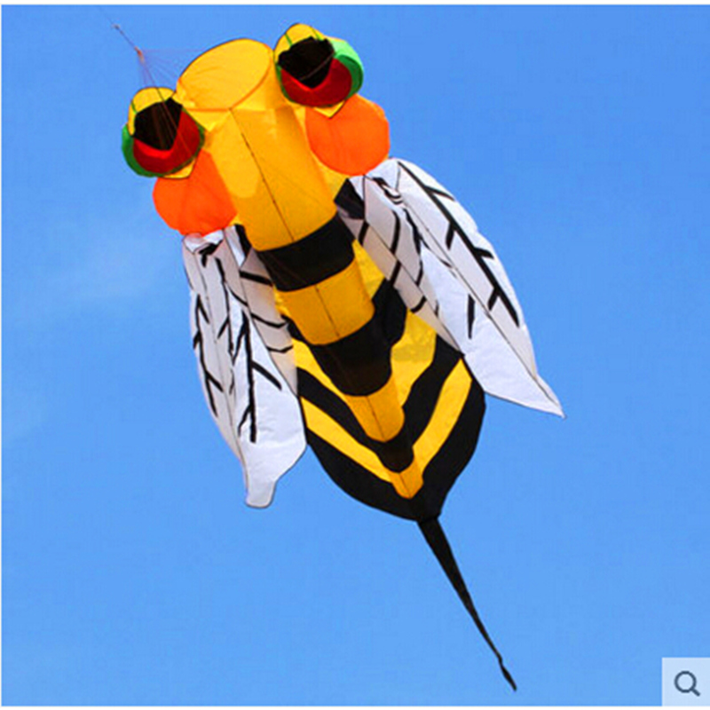 free shipping soft bee kite nylon ripstop outdoor toys flying kite tails beach fun kite line parachute kites for adults octopus цена и фото