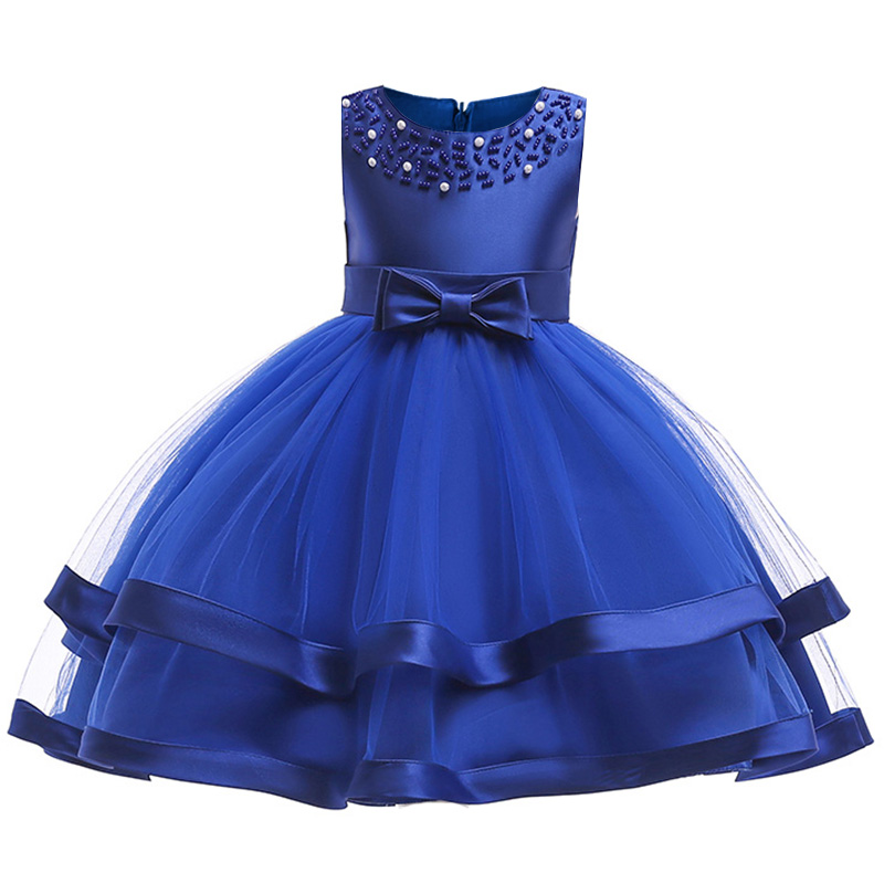 Children Clothing Bead Mesh Flower Girl Dresses Ball Gown Clothes First Communion Princess Dress Baby Costume Vestido Comunio