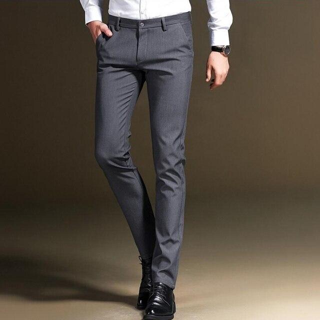 63a5123cfae High Quality Fashion Men slim fit business Suit pants Male Smart Casual  pants men Solid Colors suit pants Summer trousers