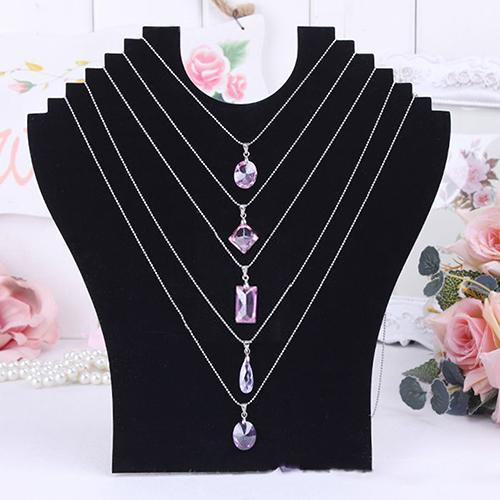 Necklace Bust Jewelry Pendant Chain Display Holder Neck Velvet Stand Easel Boho