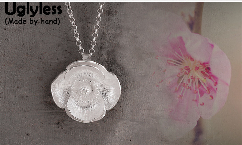 Uglyless Real S 990 Fine Silver Peach Blossom Pendants Necklaces without Chain Handmade Carved Floral Women Dress Jewelry BijouxUglyless Real S 990 Fine Silver Peach Blossom Pendants Necklaces without Chain Handmade Carved Floral Women Dress Jewelry Bijoux