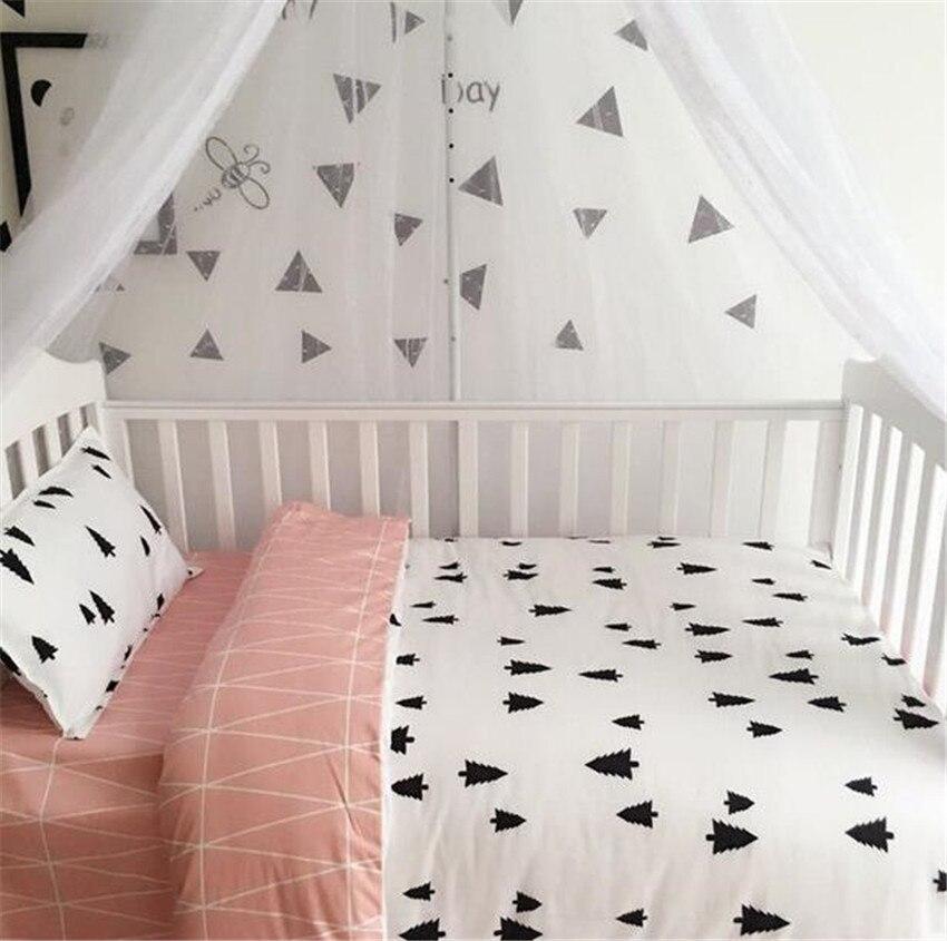 3 Pcs Baby Bed Set Cotton AB Surface Soft Pastoral Baby Bedding Set Print Cot Sheet Quilt Cover Pillow Case Newborn Bedding letter print pillow case