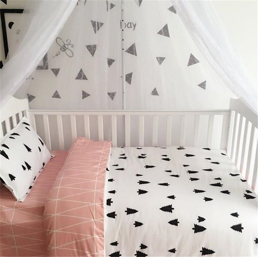 3 Pcs Baby Bed Set Cotton AB Surface Soft Pastoral Baby Bedding Set Print Cot Sheet Quilt Cover Pillow Case Newborn Bedding