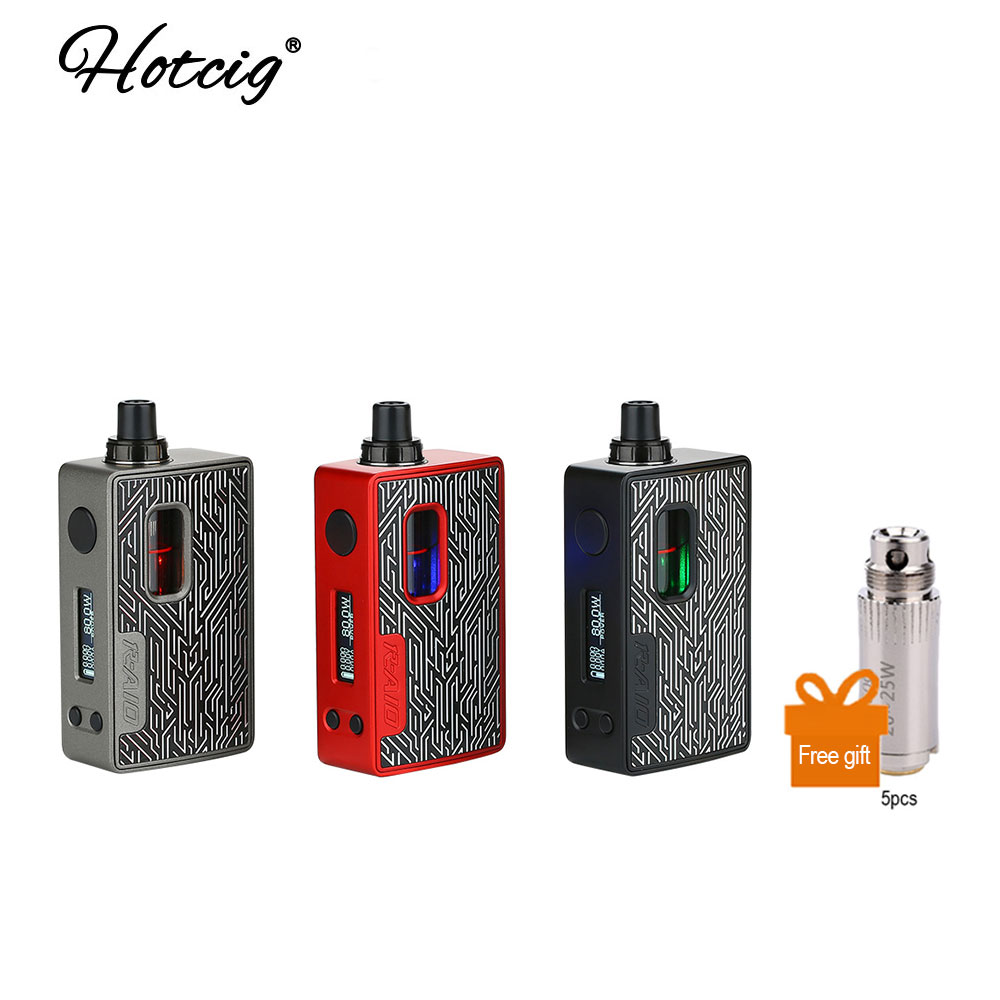 Free Coil! Hotcig R AIO TC Kit with 0.9 Inch Full Screen Display & 80W Max Output Quick Firing Speed of 0.8ms Vs Hotcig RSQ Kit