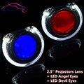 2.5 дюймов HID Би ксенон Объектив Проектора Фар LED Angel Eyes Демон Дьявол Глаза Стайлинга Автомобилей Фар Halo Дооснащения H1 H4 H7