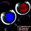 2.5 pulgadas HID Bi xenon Lente Del Proyector Faros LED Angel Eyes Halo Demon Devil Eyes Car Styling Retrofit Faro H1 H4 H7