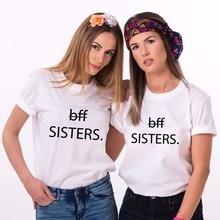 Plain T Shirts Crew Neck Women Short-Sleeve Tall  Best Friends Sisters Shirt