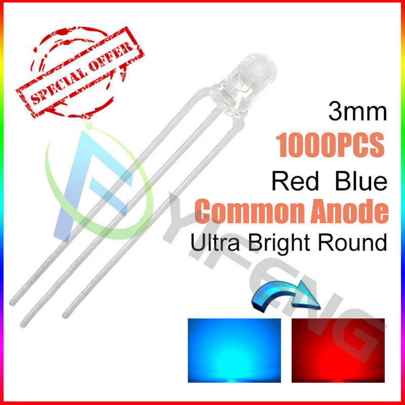 New (1000PCS/lot )3MM red and blue color transparent common anode F3 red and blue light-emitting diode LED lamp beads