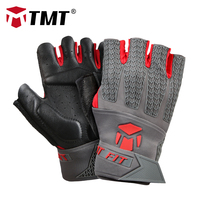TMT Leather Weight Lifting Gym Gloves Sports Exercise Training Fitness Workout Comfortable Breathable For Cycling Men and Women