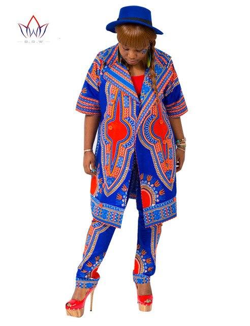 Осень 2 Шт. Набор Брюки и Растениеводство Топ Плюс Размер Женщин африканский Одежда Печать Брюки для Женщины Брюки Указан Африканский Костюмы BRW WY654
