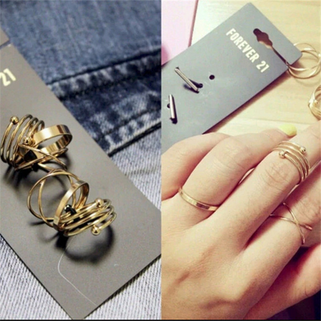 H:HYDE Hot Unique Ring Set Punk Gold Color Knuckle Rings for women Finger Ring 6