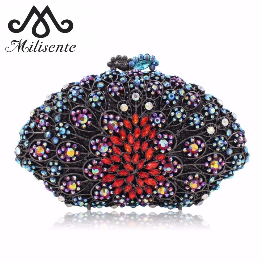Milisente Women Clutches Luxury Crystal Evening Bag Colorful Diamonds Flower Female Clutch Wedding Bags Party Purse gold plating floral flower hollow out dazzling crystal women bag luxury brand clutches diamonds wedding evening clutch purse