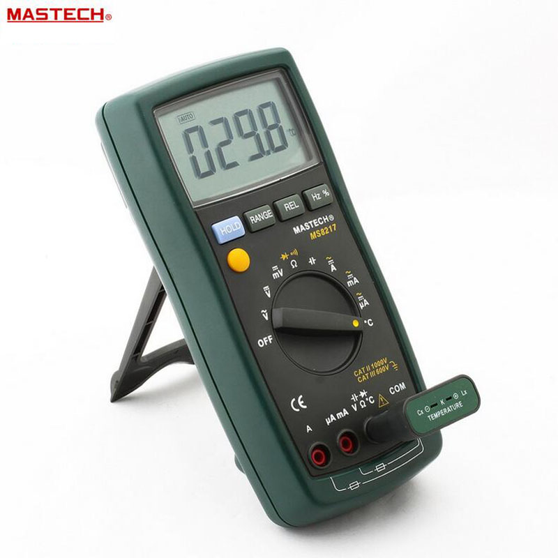 MASTECH MS8217 Portable Digital Multimeter Auto ranging AC/DC Voltage DMM REL Frequency & Temperature Tester With LCD Display mastech ms8226 handheld rs232 auto range lcd digital multimeter dmm capacitance frequency temperature tester meters