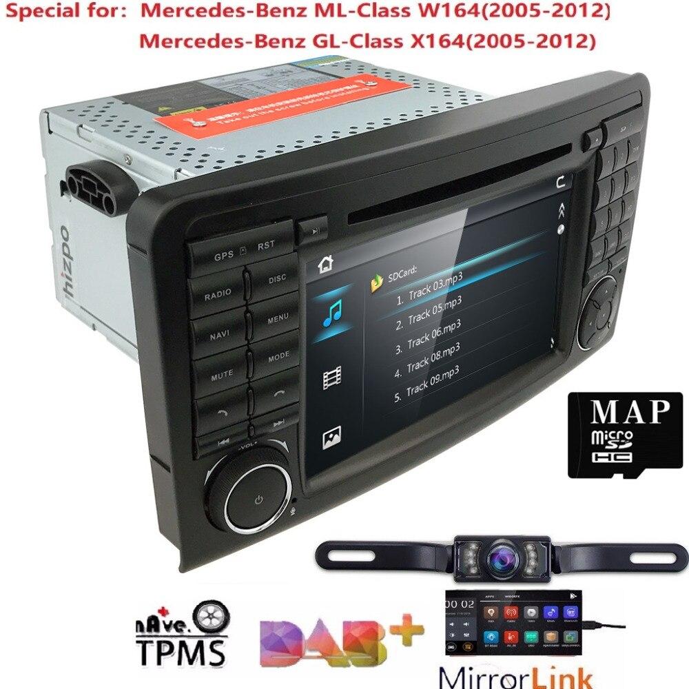 Lecteur DVD de voiture 2Din pour Mercedes Benz ML classe W164 GL350 X164 ML320 GPS Navigation Radio stéréo BT DAB + DTV SWC CAM carte SD TPMS
