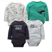 4 قطعة/الوحدة الوليد ملابس الطفل 2020 جديد موضة طفل الفتيان الفتيات الملابس 100% القطن الطفل ارتداءها طويلة الأكمام الرضع بذلة