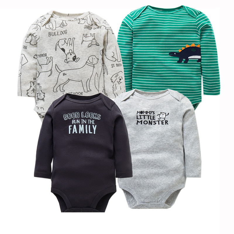 4 PCS/LOT Newborn Baby Clothing 2018 New Fashion Baby Boys Girls Clothes 100% Cotton Baby Bodysuit Long Sleeve Infant Jumpsuit