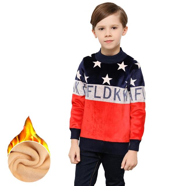 Novo Inverno Meninos Camisolas Crianças Estrelas Marinha Listrada Vermelha Quente Engrosse Hoodies Moletons Crianças Grandes Meninos Camisas Casuais Roupas
