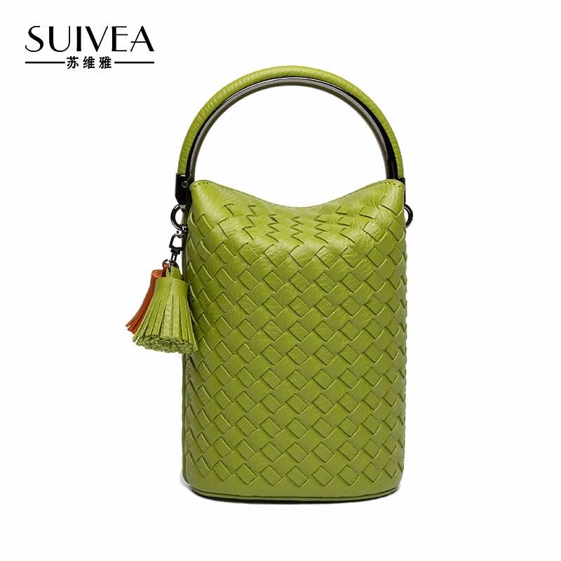 SUIVEA 2017 Fashion Bucket Handbag Female PU Leather Tassel Chain Women Shoulder