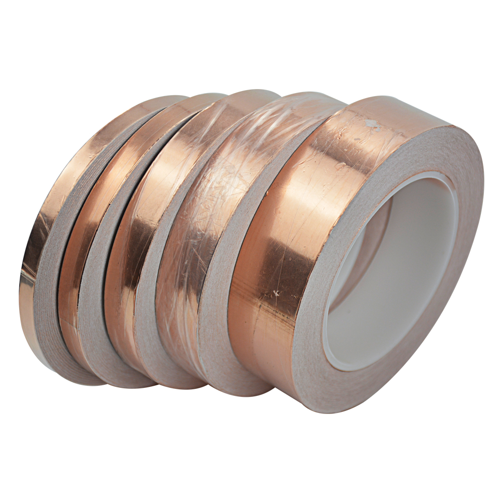 1Pc 30M Single-sided Conductive EMI Shielding Copper Foil Tape 5MM-50MM Adhesive Barrier 0.06mm Thick hot sale new 2 roll 5mm x 30m single conductive copper foil tape adhesive