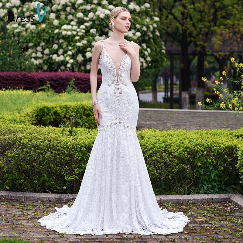 White Backless Lace Mermaid Wedding Dresses 2018 V Neck: Dressv 2017 White Lace Long Mermaid Sexy Backless Wedding