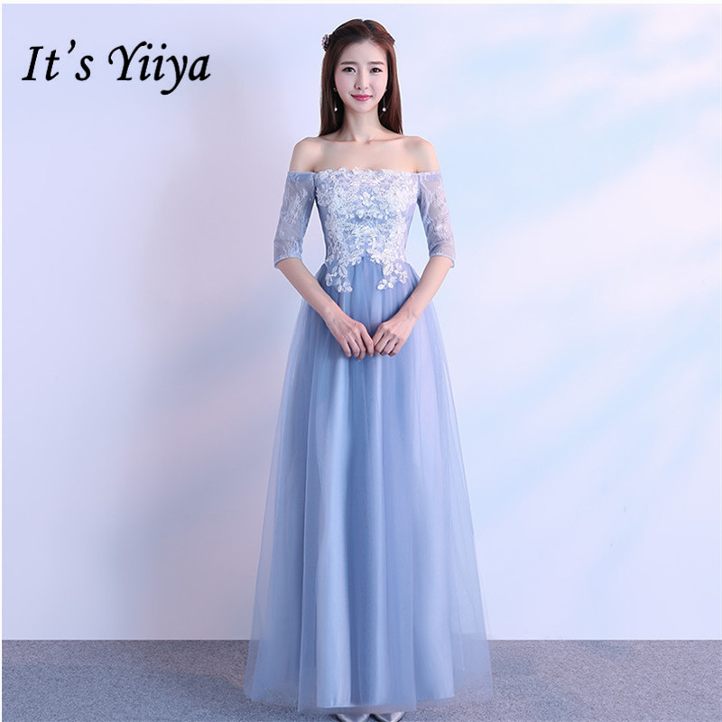 It's YiiYa Fashion Boat Neck Blue   Bridesmaid     Dresses   Elegant Lace Slim A-line Ankle-length   Dress   B024