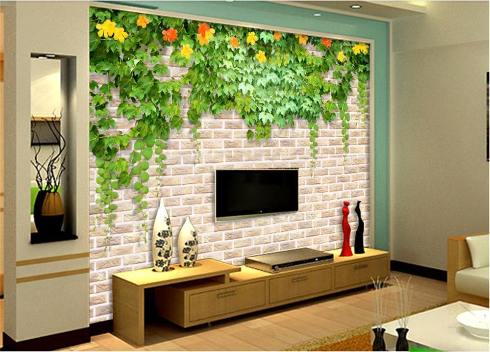 3D Wallpaper Custom Mural Photo Wall Paper Green Leaf Flower Vine Brick TV Sofa Bedroom Bar Hotel Living Room In Wallpapers From Home