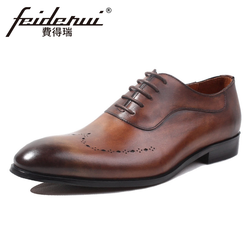 British Handmade Genuine Leather Men's Oxfords Round Toe Breathable Man Brogue Footwear Formal Dress Wedding Party Shoes HQS142 men luxury crocodile style genuine leather shoes casual business office wedding dress point toe handmade brogue footwear oxfords page 4 page 5 page 1
