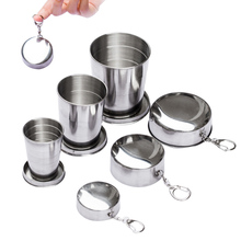 Portable Stainless Steel Folding Cup 75ml 150ml 250ml Collapsible With Keychain for Outdoor Climbing Travel Supplies