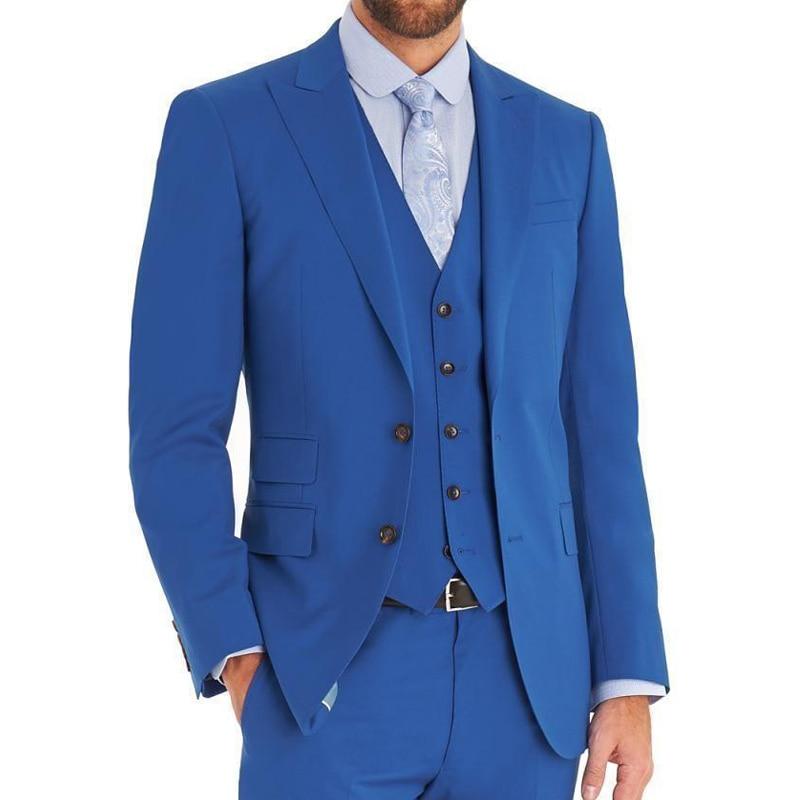 Light Blue Wedding Groomsmen Tuxedos Groom Wear Three Piece Peaked Lapel Custom Made Men Suits 2018 Jacket Pants Vest