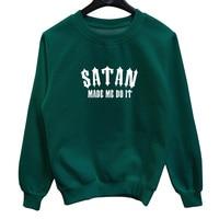 La MaxPa satan made me do it New Autumn Winter Fashion Men Crewneck Hoodies Sweatshirt Casual Cotton Thicken Male Pullover 537
