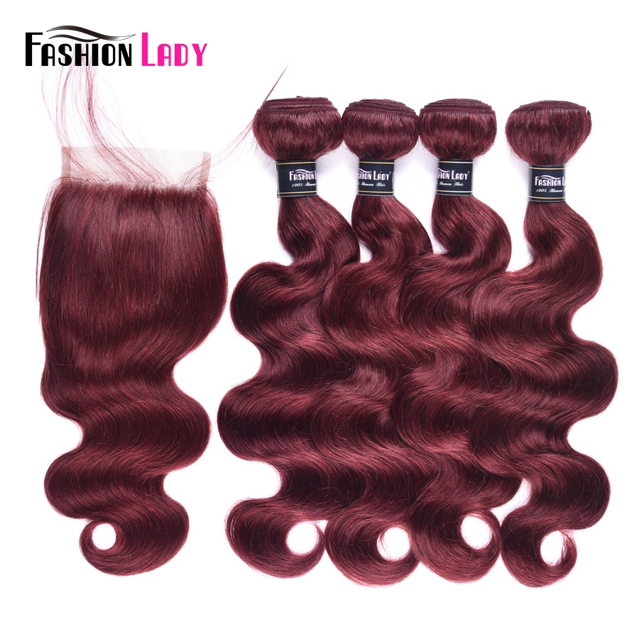 Fashion Lady Pre-Colored Brazilian Hair Bundles 3/4pcs With Lace Closure Bodywave Bundles 99j Bundles With Closure Non-Remy