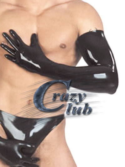 2016 Fashion Men New Real Black Latex Zentai Gloves Shoulder Length Latex Sexy Working Gloves Rubber Band Latex Free Shipping