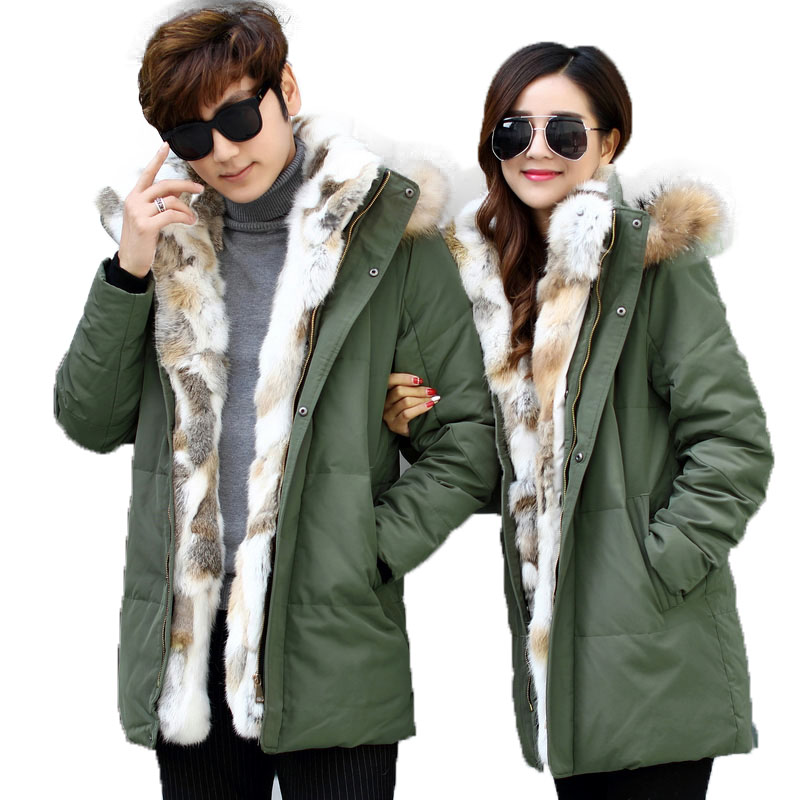 2017 Thick Down Jacket Men Winter With Hood Detached Warm Waterproof Big Raccoon Fur Collar For -40 degrees Couple Coat Outwear 2017 men down jacket winter warm collar fur trim hood coat outwear puffer down cotton long jacket clothes thick canada cheap