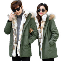 2017 Thick Down Jacket Men Winter With Hood Detached Warm Waterproof Big Raccoon Fur Collar For 40 degrees Couple Coat Outwear