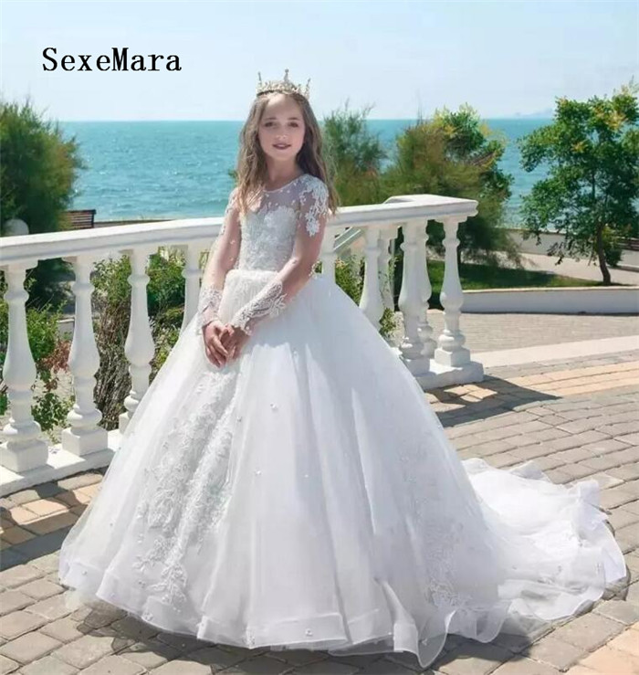 2018 Princess Long Sleeves White Flower Girl Dresses Lace Applique Jewel Neck Pageant Dresses Communion Birthday Party Dress kasalla aachen